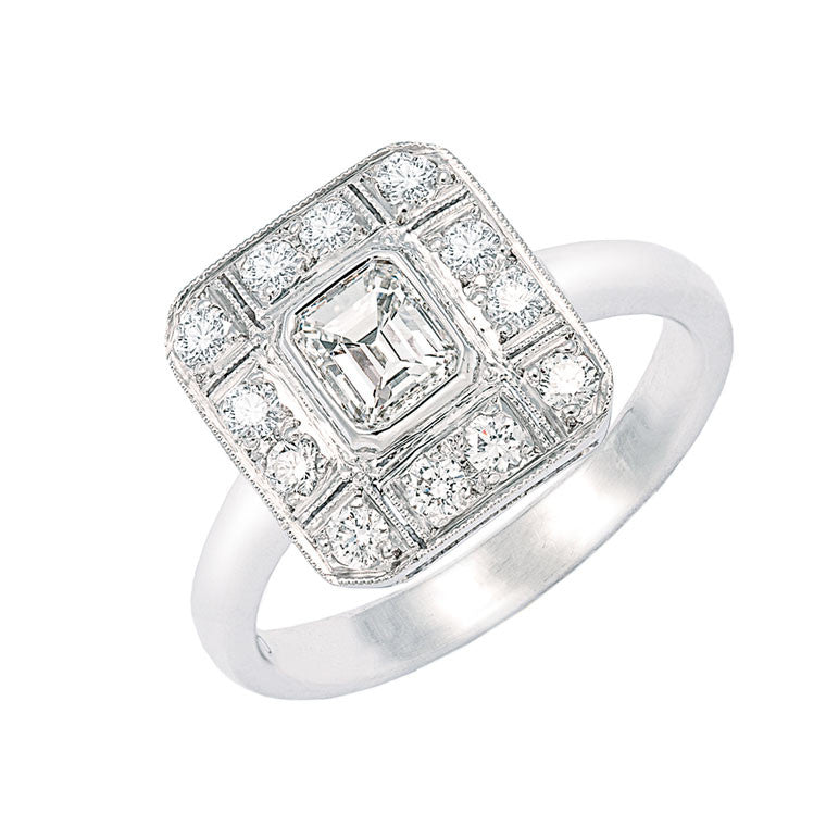 square plaque ring with emerald cut diamond center, bespoke jewellery Melbourne