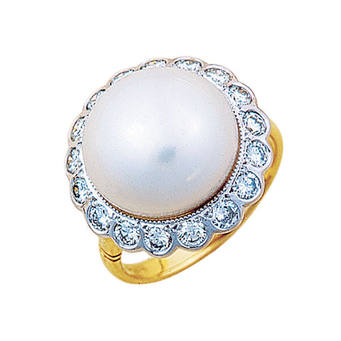 pearl and diamond cluster ring, two tone, South Sea pearl, made to order jewellery Melbourne