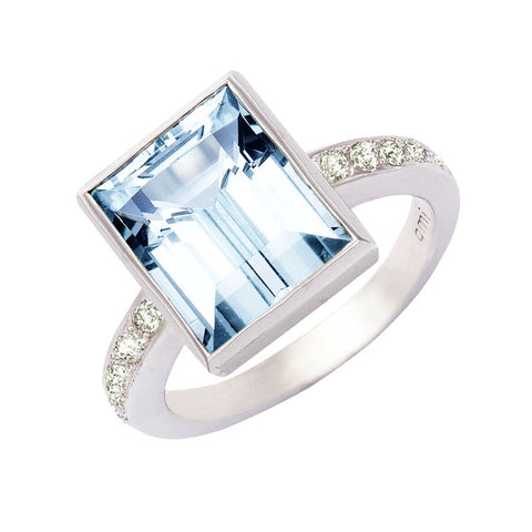 baguette cut aquamarine and diamond ring, Bespoke Jewellery Melbourne