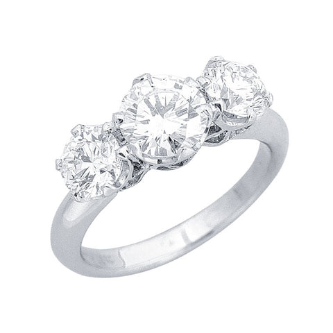 three diamond ring, large centre diamond slightly smaller side diamonds