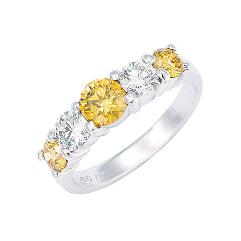 yellow diamond and white diamond 5 across ring