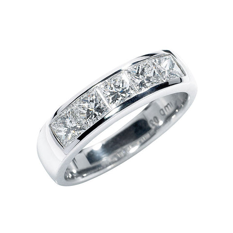 princess cut diamond set band, five across channel set