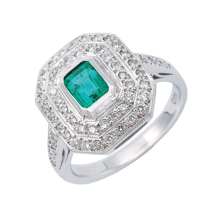 emerald cut emerald and double row diamond halo ring, made to order jewellery Melbourne