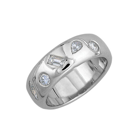 various shape diamonds flush set in 18ct white gold, made to order jewellery Melbourne