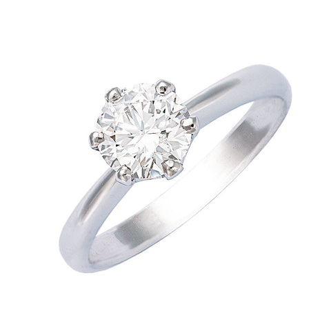 diamond engagement ring round brilliant cut with six claws
