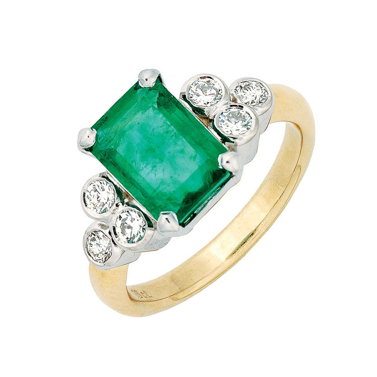 emerald and diamond dress ring, yellow gold and white gold, tailor made jewellery Melbourne