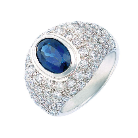 sapphire and diamond dress ring, bombe shape, pave and bezel set