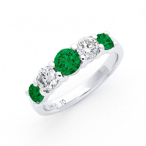 five across emerald and diamond ring