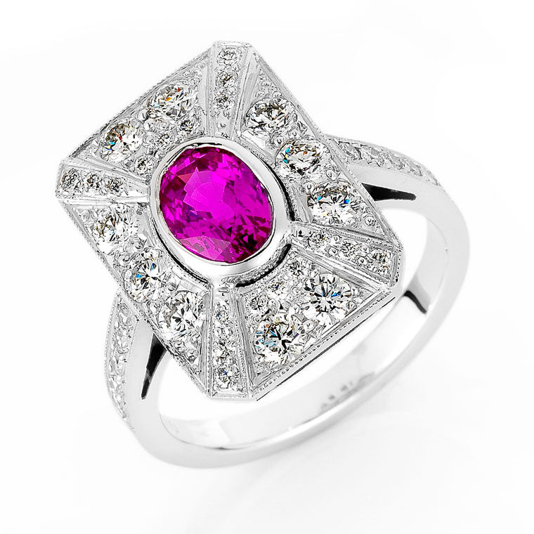 pink sapphire and diamond dress ring, bespoke jewellery Melbourne