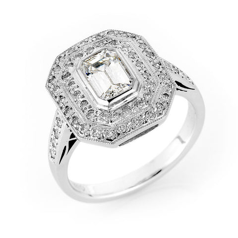 emerald cut diamond double halo ring, bespoke jewellery Melbourne