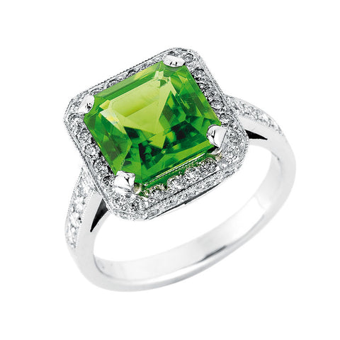 square emerald cut peridot and diamond halo ring, handmade jewellery Melbourne