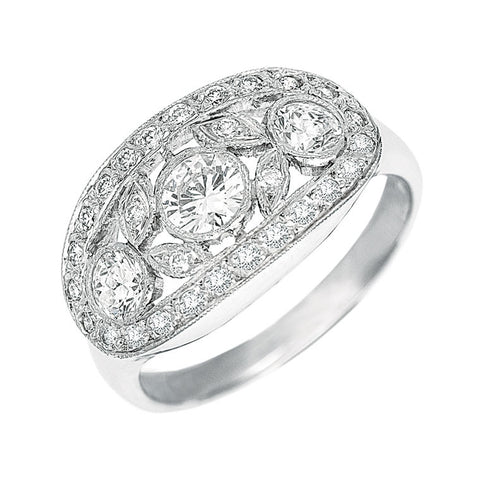 diamond dress ring, across the finger, open design