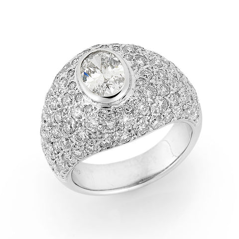 pave set diamond bombe ring, bespoke jewellery Melbourne