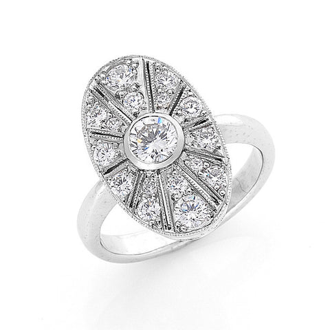art deco style diamond ring, bespoke jewellery Melbourne