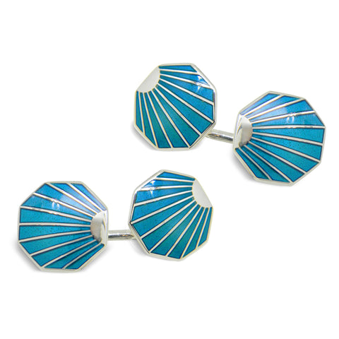Sterling Silver Turquoise Shell Deco Style Enamel Cufflinks