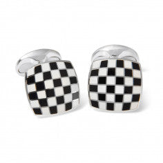 Deakin & Francis Sterling Silver Black & White Enamel Checkerboard Cufflinks