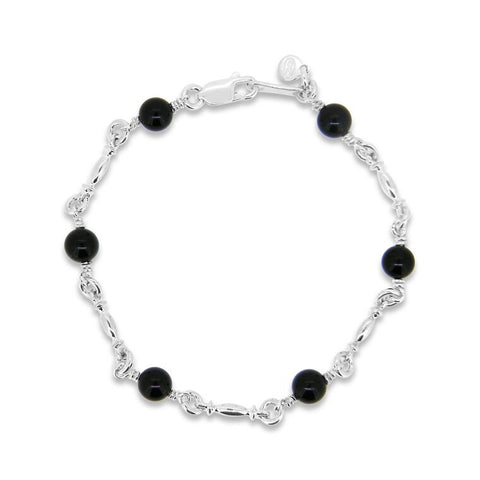 Sterling silver and onyx bracelet. WPS10