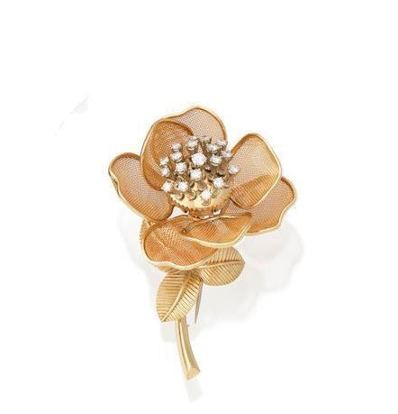 Vintage Diamond En Tremblant Rose Brooch