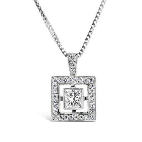 Square 'halo' diamond pendant   WPP42