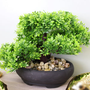Artificial Bonsai Tree On Table Black Pot And Fake Stones