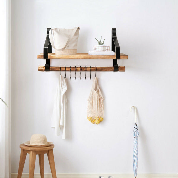 Wall Mounted Floating Shelves With Hooks For Hanging Storage-Shelving-The Modern Home Shop