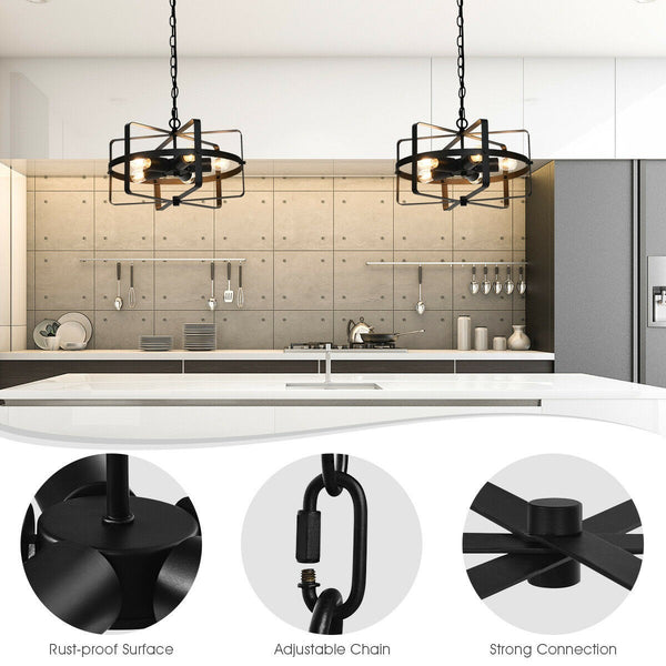 Industrial Style Drum Shaped Chandelier with 5 Lights-Lighting-The Modern Home Shop