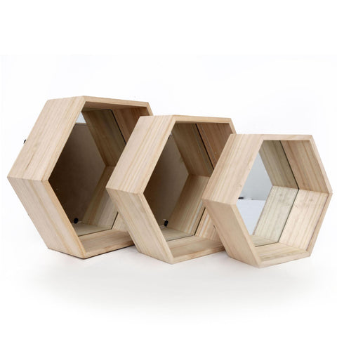 Set of Three Hexagonal Mirrored Shelves-Mirror-The Modern Home Shop