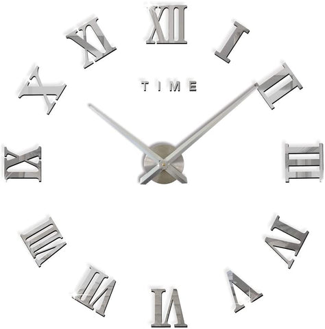 Large Silver Mirrored Wall Clock Roman Numerals - Luxury Big Art Clock-Clock-The Modern Home Shop