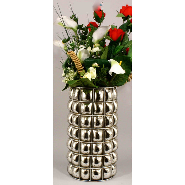 Large Antiqued Silvered Blown Glass Pillar Vase-Decor-The Modern Home Shop