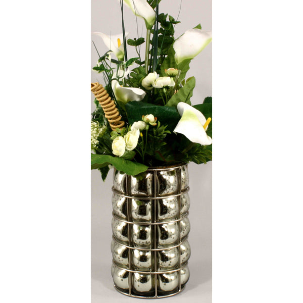Small Antiqued Silvered Blown Glass Pillar Vase-Decor-The Modern Home Shop