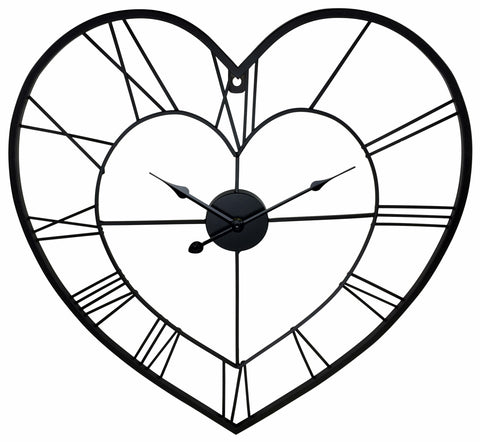 Black Metal Love Heart Clock 58cm-Clock-The Modern Home Shop
