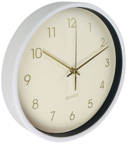 Round Wall Clock In White 25cm-Clock-The Modern Home Shop
