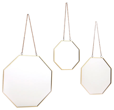 Set of 3 Geometric Hanging Mirrors-Mirror-The Modern Home Shop