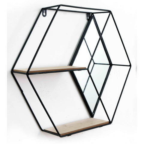 Hexagon Shelving Unit With Mirror & 2 Shelves-Shelving-The Modern Home Shop
