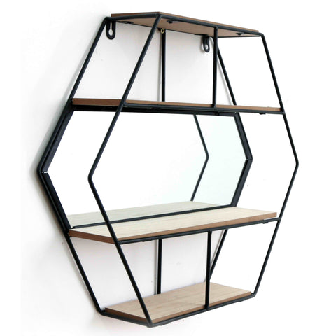 Hexagon Shelving Unit With Mirror & 3 Shelves-Shelving-The Modern Home Shop