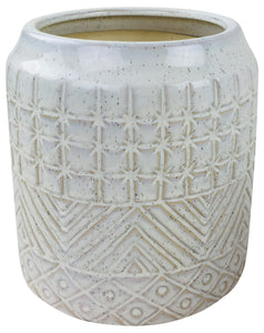 White Star Textured Stoneware Planter 20cm-Plant Pot-The Modern Home Shop