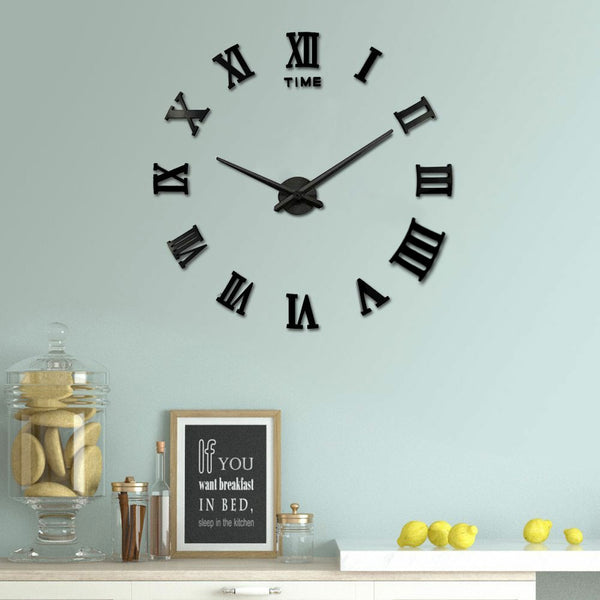 Large Black Mirror Wall Clock Roman Numerals - Luxury Big Art Clock-Clock-The Modern Home Shop