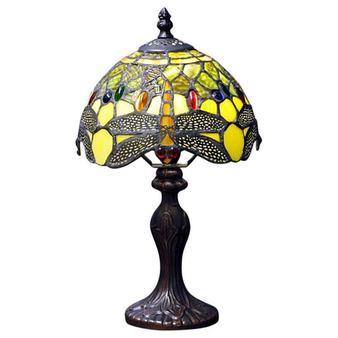 Green Dragonfly Tiffany Lamp-Lamp-The Modern Home Shop