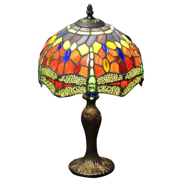 "Red Dragonfly Tiffany Lamp 10""-Lamp-The Modern Home Shop"