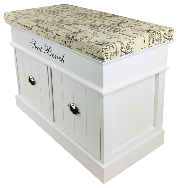 White Seat Storage Bench With 2 Drawers & Lid 70cm