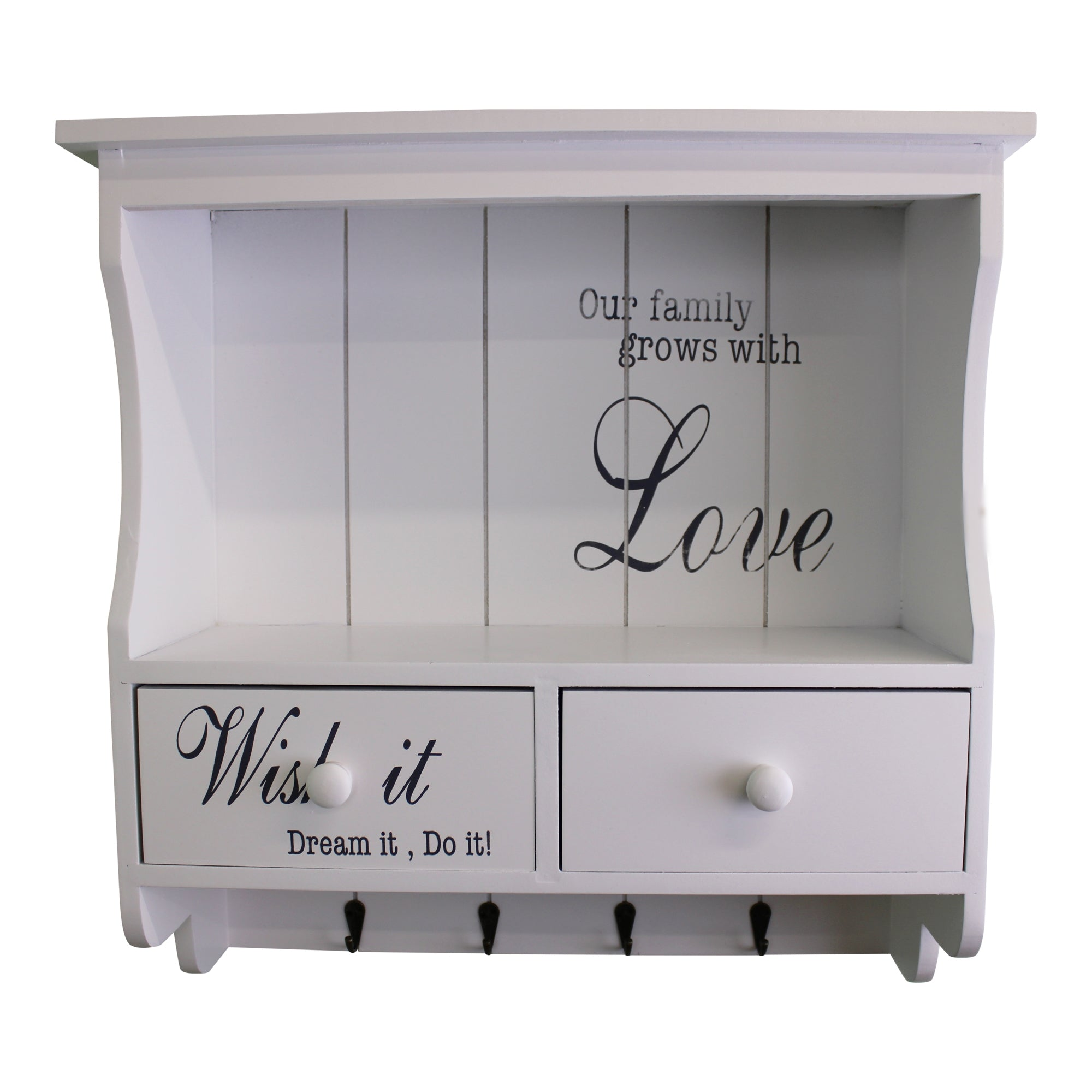 Front Face Of White Wall unit with Hooks & Drawers