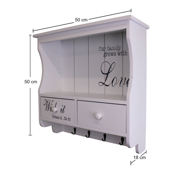 White Wall Unit With Hooks/Drawers And Shelf Dimensions