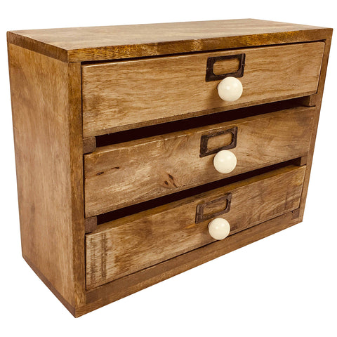 Solid Wood Three Drawer Desktop Organiser-Decor-The Modern Home Shop