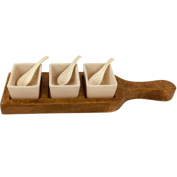 Wooden Tray With Dip Bowls & Spoons-Decor-The Modern Home Shop