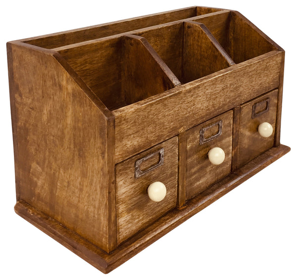 Rustic Desktop Organiser With Drawers-Decor-The Modern Home Shop
