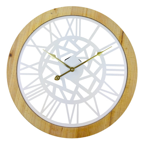 White Metal Cut Out Wall Clock With Roman Numerals And Wooden Border 45cm-Clock-The Modern Home Shop