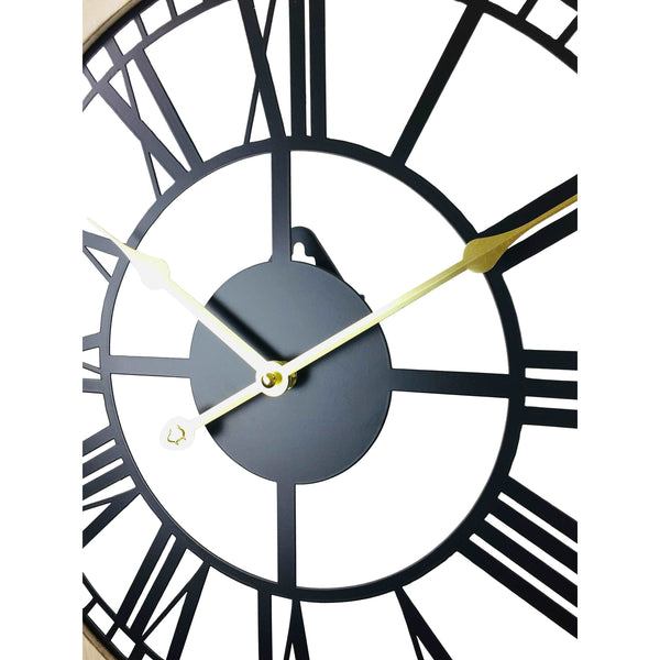 Black Metal Cut Out Wall Clock With Roman Numerals And Wooden Border 45cm-Clock-The Modern Home Shop