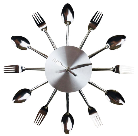 Fork & Spoon Kitchen Utensil Wall Clock 38cm-Clock-The Modern Home Shop