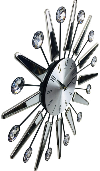 Silver Mirrored Effect Wall Clock 39cm-Clock-The Modern Home Shop