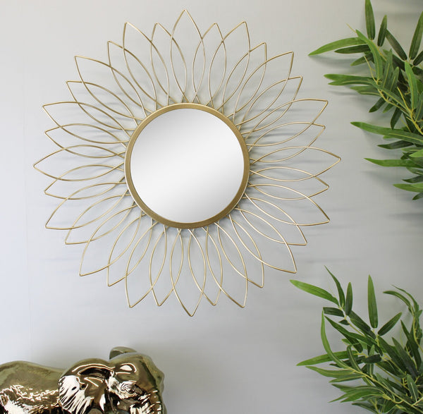 Gold Wire Flower Design Accent Mirror